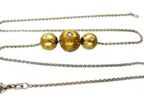 18ct White Gold Necklace with Diamond & Yellow Gold Balls