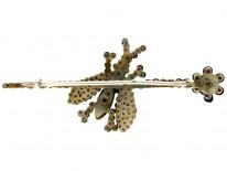 Georgian Cut Steel Bee Brooch on Branch