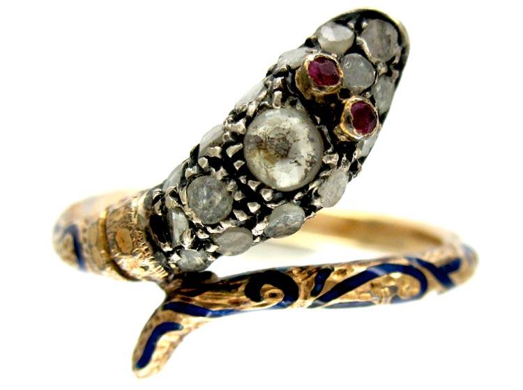 Georgian Rose Diamond & Ruby Snake Ring