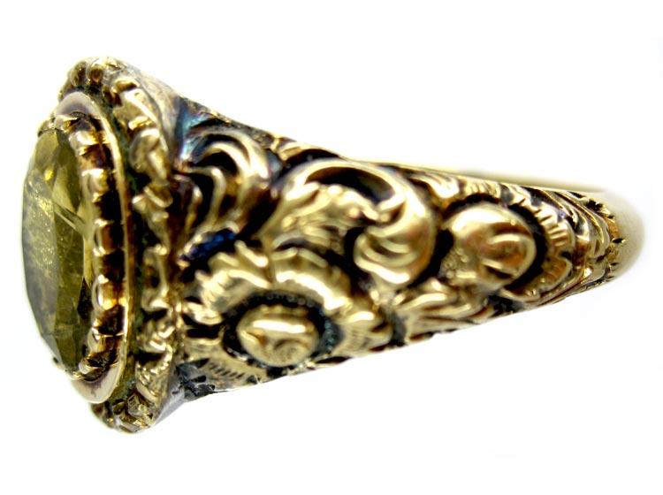 18ct Gold Georgian Foiled Citrine Ring