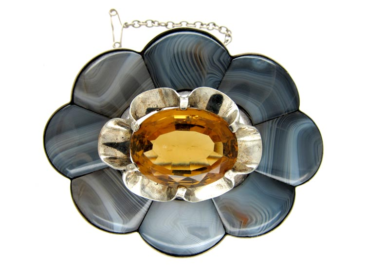 Large Silver Grey Agate Scottish Brooch