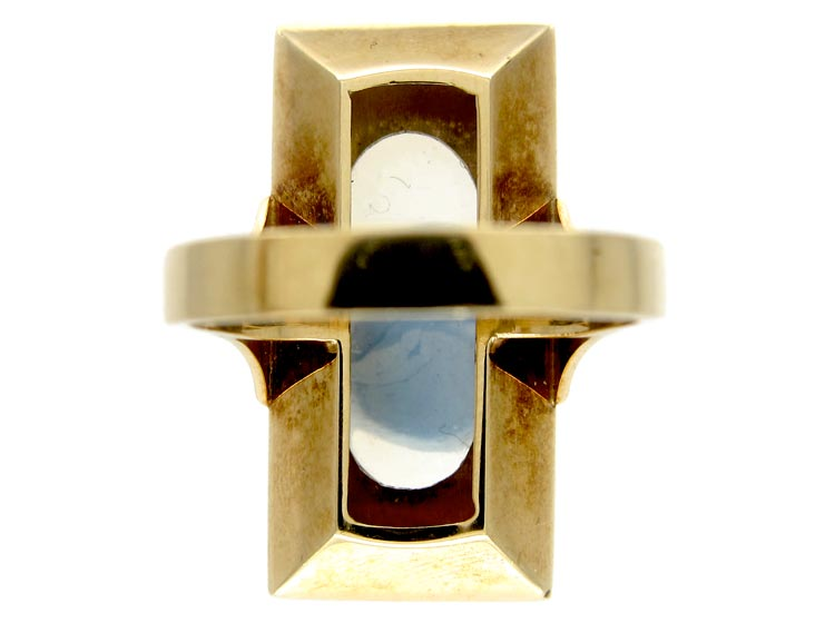 Large Moonstone 14ct Gold Ring