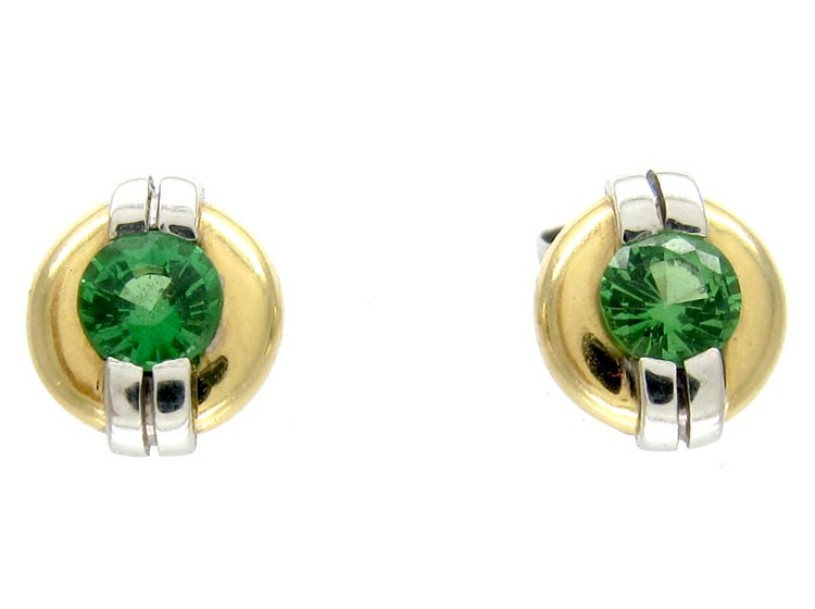 Green Garnet 15ct Gold & Platinum Ear Studs