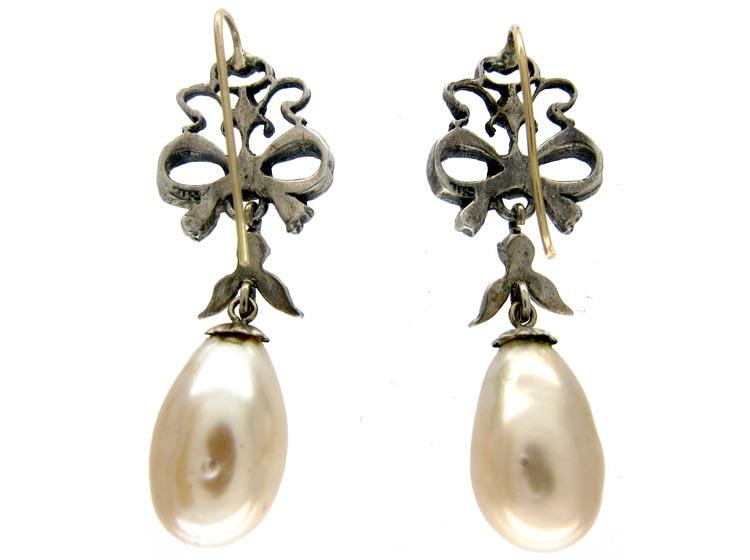 Silver & Paste Edwardian Drop Earrings