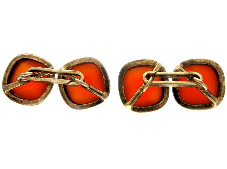 Double Sided Silver Gilt Carnelian Cufflinks
