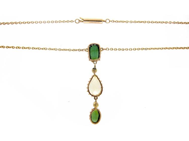 Green Tormaline & Citrine Pendant