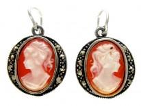 Shell Cameo Silver Earrings