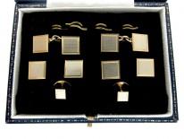 9ct Two Colour Gold Cuffs & Studs Set in Original Case