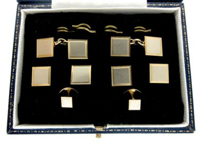 9ct Two Colour Gold Cuffs & Studs Set in Original Case