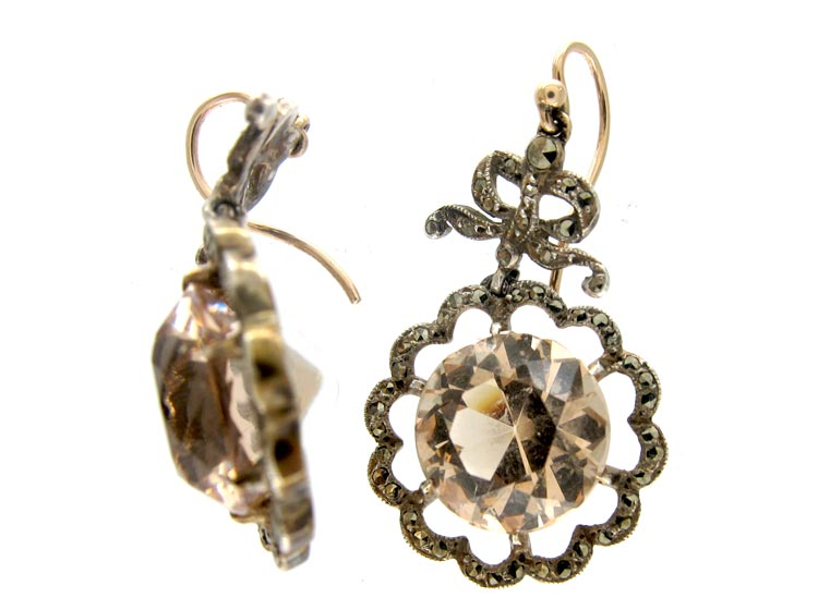 French Marcasite Citrine Drop Silver Earrings