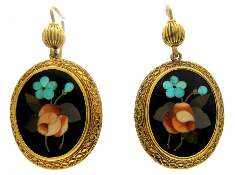 Pietra Dura Victorian 15ct Gold Earrings
