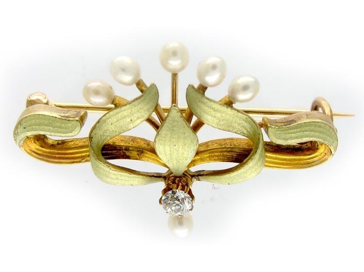 Enamel 14ct Gold Art Nouveau Brooch