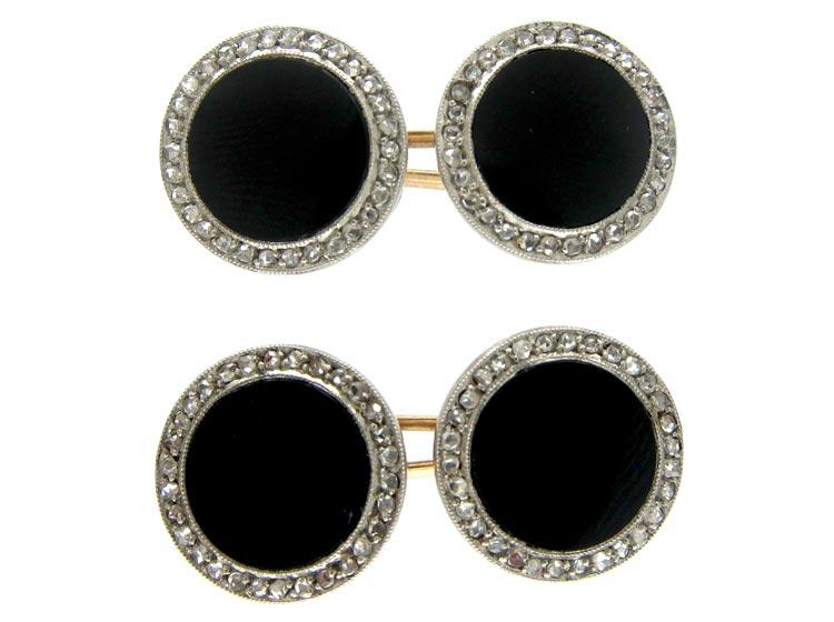 Onyx & Diamond Art Deco Cufflinks