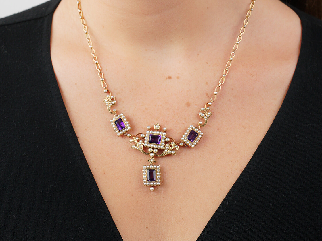 Amethyst & Natural Split Pearl 15ct Gold Necklace