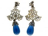 Georgian Cut Steel & Bristol Blue Glass Earrings
