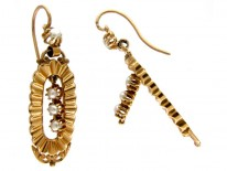 French 18ct Gold & Natural Pearl Drop Earrings