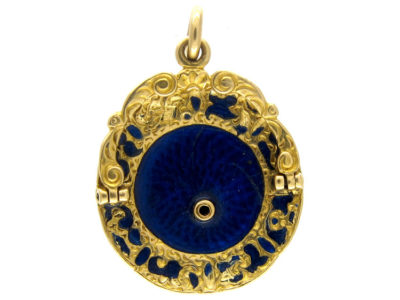 Blue Enamel & Gold Cake Stand Charm