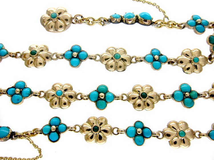 Turquoise 'Forget Me Not' Gold Necklace