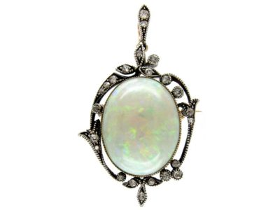 Edwardian Silver & 15ct Gold, Opal & Diamond Pendant Brooch