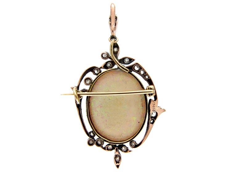 Edwardian Silver & 15ct Gold, Opal & Diamond Pendant Brooch