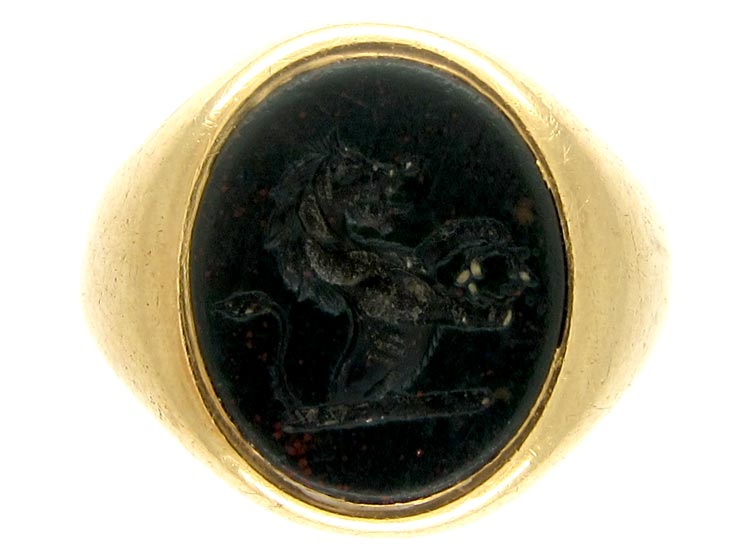 Bloodstone Crested Signet Ring