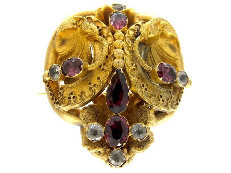 Garnet & Crystal Gold Brooch