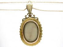Victorian Emerald & Pearl Gold Locket Pendant