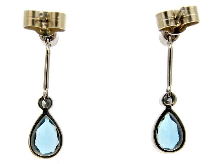 Diamond & Aquamarine Earrings