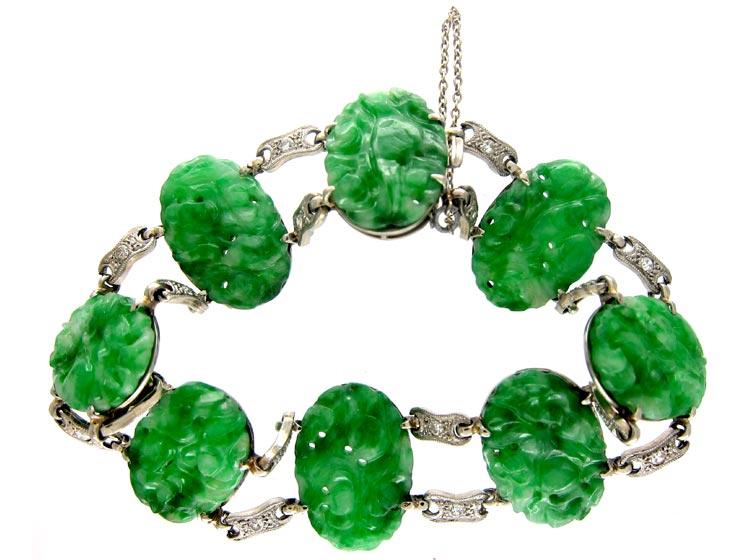 Jade & Diamond 18ct White Gold Bracelet