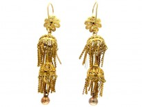 Georgian Filigree 18ct Gold Drop Earrings