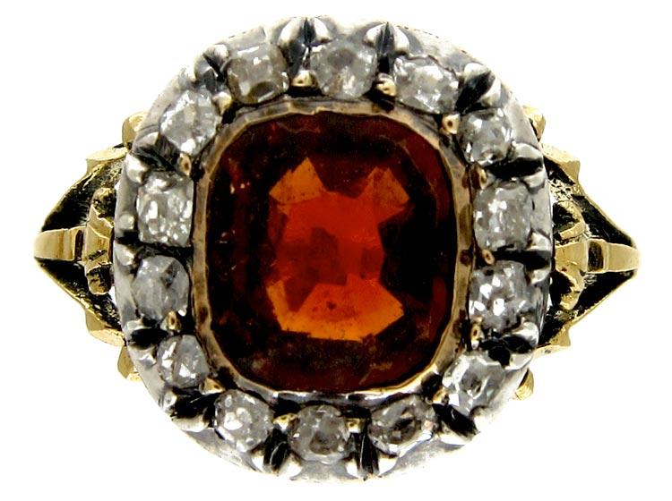 Hessanite Garnet & Diamond Ring