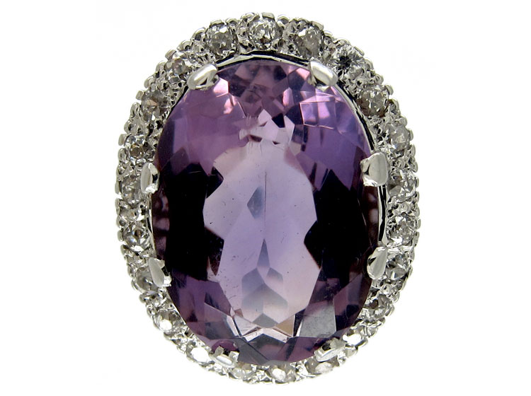 Large Amethyst Diamond Ring