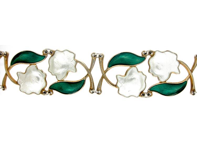 Silver Enamel Roses Bracelet
