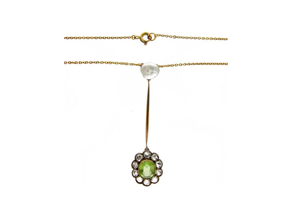Peridot, Diamond & Pearl Pendant