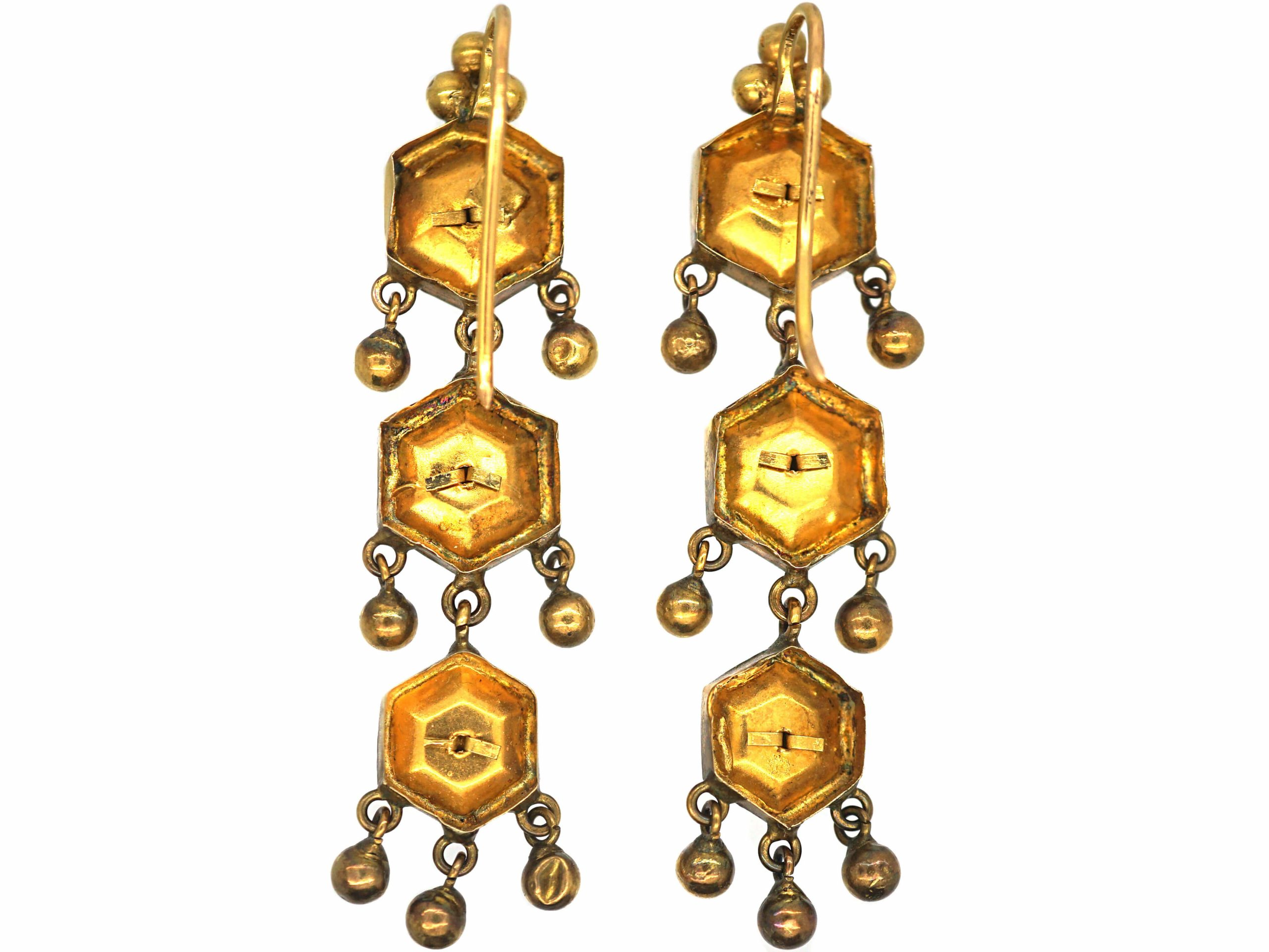 Early 19th Century Swiss Enamel Triple Gold Drop Earrings