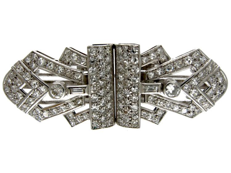 Art Deco Double Clip Diamond Brooch