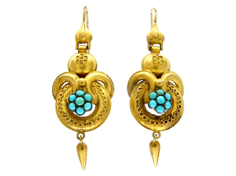Victorian Gold & Turquoise Drop Earrings