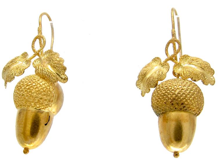 Victorian Acorn Drop Gold Earrings