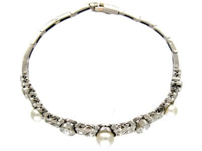 Diamond & Natural Pearl Bracelet