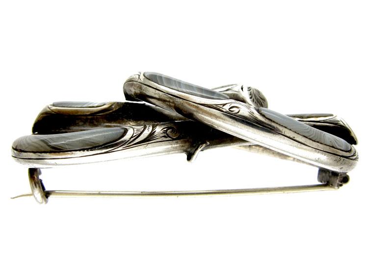 Scottish Silver & Grey Agate Brooch