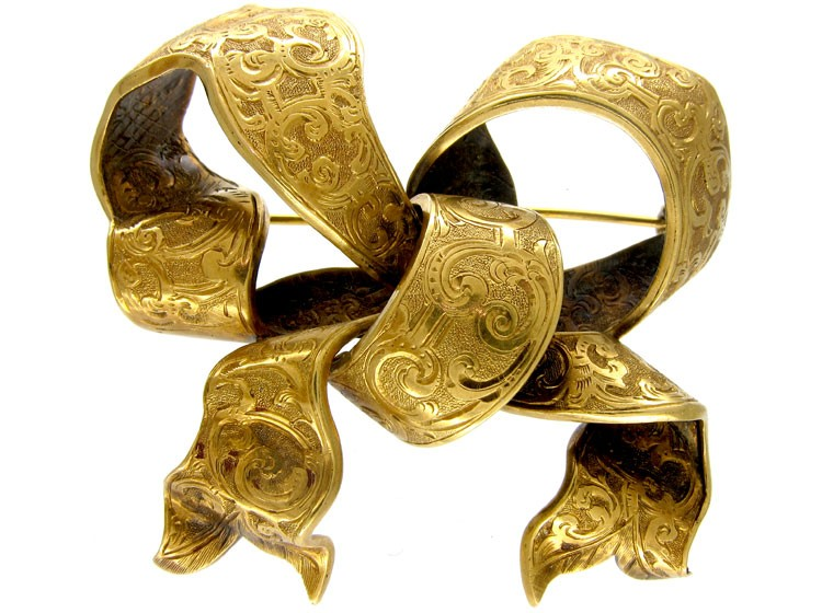 Victorian Gold Bow Brooch