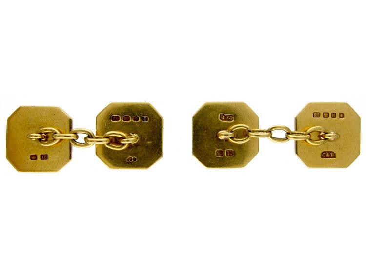 18ct Gold & Enamel Cufflinks