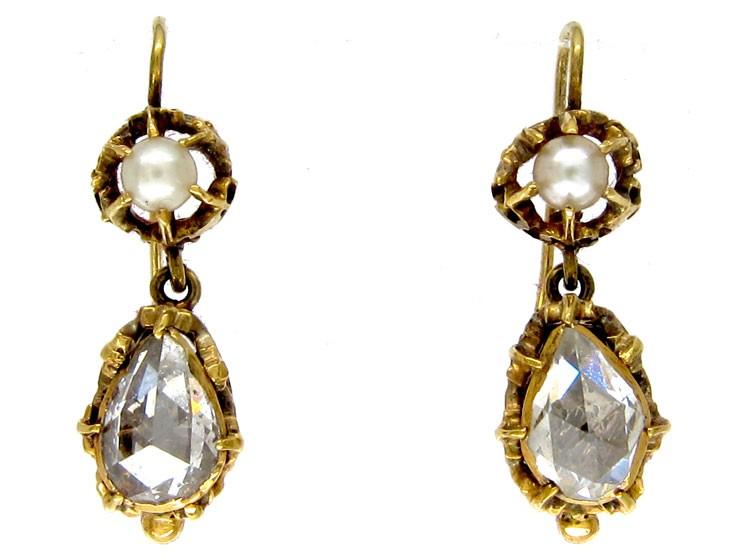 Rose Diamond & Pearl Earrings