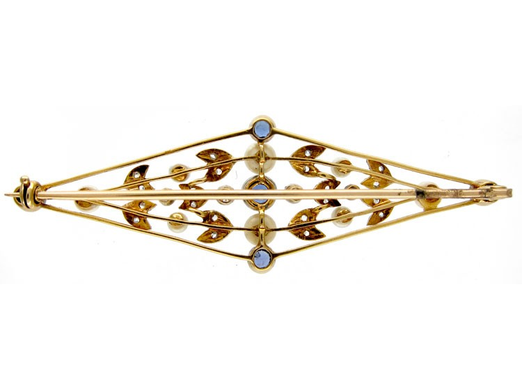 Sapphire & Diamond Edwardian Brooch
