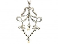 Edwardian Diamond & Platinum Pendant on Chain