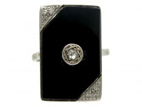 Onyx & Diamond Art Deco Ring