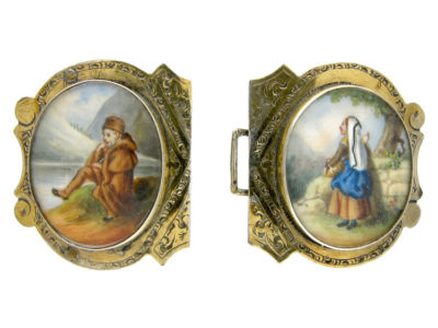 Victorian Silver Buckle with Double Miniature of Figures in a Mountainous Landscape