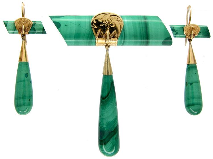Russian Malachite Brooch & Earrings
