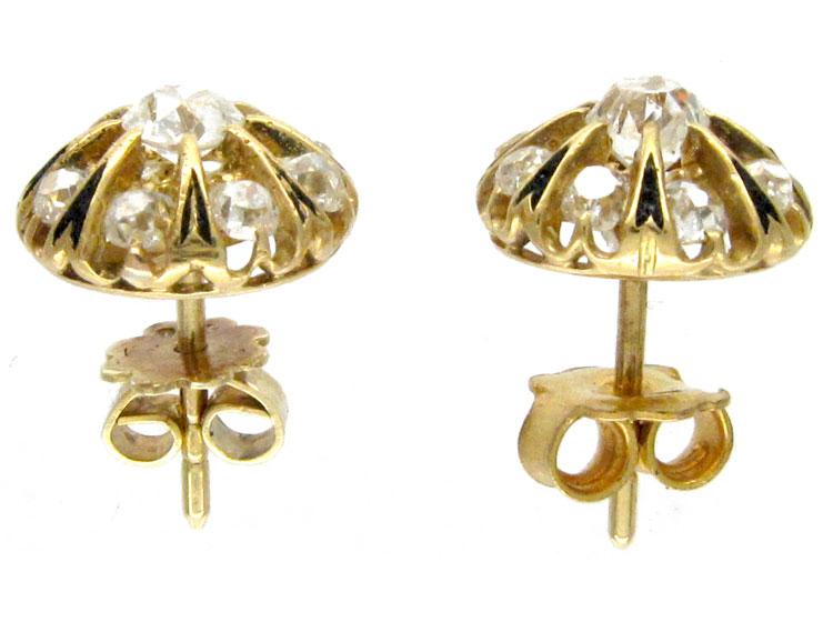French Diamond & Enamel Cluster Earrings