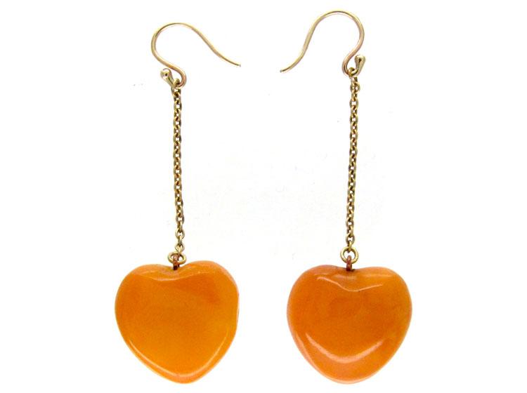 Amber Heart Drop Earrings